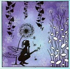 Fairy Card - My site Lavinia Stamps Cards, Art Carte, Fairy Jars, Silhouette Painting, Fairy Crafts, Learn To Paint, Pictures To Paint, Xmas Cards, Creative Cards