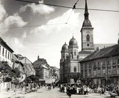 Pavol Poljak: Fisheries Square in Bratislava by St. Nicholas, Neolog Synagogue and Dome 1940 Bratislava Slovakia, Heart Of Europe, Barcelona Cathedral, Taj Mahal, Past, Louvre, Country, Building, Nature