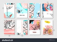 Hand drawn vector abstract creative unusual save the date cards template collection set with graphic flowers in pastel colors.Hand made textures.Wedding,anniversary,birthday,party invitations.