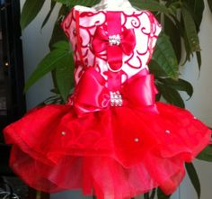 RED dog dress for special occasion lined by LaVitaPetFashion, $79.99