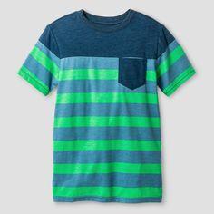 Boys' Classic Stripe Pocket T-Shirt Cat & Jack Green XS, Boy's