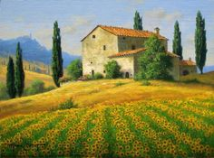 . Watercolor Landscape Paintings, Landscape Art, Watercolor Paintings, Tuscan Art, Tuscany Landscape, Painting Inspiration, Art Pictures, Scenery, Fine Art