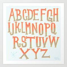 the ABC's Art Print by Michelle Schwartzbauer - $18.00 #lettering #design