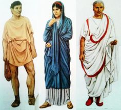 Information about ancient Roman clothing including the tunica and the toga and differences between social classes.