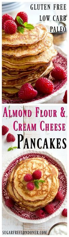 Quick Keto Breakfast On the Go 15 Top Ideas for Fat Burning from the Morning! Light and fluffy pancakes that are low carb gluten free and so easy to make: These Almond Cream Cheese Pancakes are a healthy sugar free breakfast choice. Sugar Free Breakfast, Low Carb Breakfast, Breakfast Recipes, Breakfast Ideas, Brunch Recipes, Pancake Recipes, Ketogenic Breakfast, Dinner Recipes, Flour Recipes