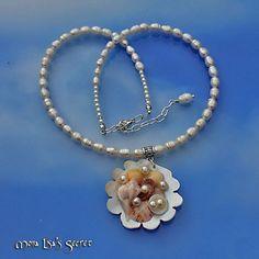 Seashell Necklace, Seashell Mosaic Pendant, Mermaid Necklace, Beach Style, Beach Wedding