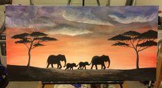 Acrylic elephant painting on canvas