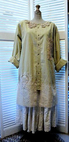 tattered Romantic upcycled Tunic dress coat smock lace rustic  prairie cowgirl Bohemian Beach wedding spring summer  plus size