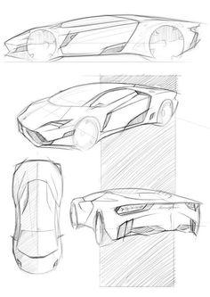 car design sketch Lamborghini Leon - Sketch Concept by Ardhyaska Amy, via Behance: Industrial Design Sketch, Car Design Sketch, Car Sketch, Car Drawing Pencil, Design Autos, Design Cars, Art Drawings Sketches, Drawing Art, Transportation Design