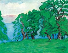 thunderstruck9: J. F. Willumsen (Danish, 1863-1958), En Række Ægte Kastanietræer ved en Bjærgsø [A row of chestnut trees near a mountain lake], 1932. Oil on canvas, 74 x 93 cm.