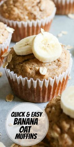 Quick and Easy Banana Oat Muffins recipe from RecipeGirl.com #quick #easy #banana #oat #oatmeal #muffin #muffins #recipe #RecipeGirl Egg Recipes For Breakfast, Low Carb Dinner Recipes, Brunch Recipes, Appetizer Recipes, Dessert Recipes, Chicken Appetizers, Banana Oat Muffins, Banana Oats, Fun Easy Recipes