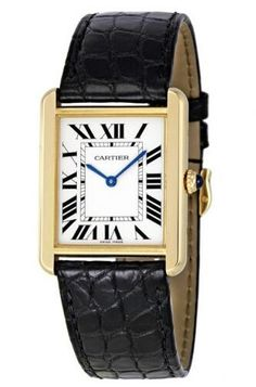 Cartier Tank Solo Silver Dial 18kt Yellow Gold Black Leather W5200004