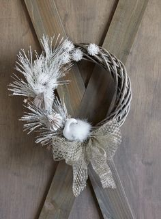Such a beautiful Christmas craft! Here is a pretty silver and white DIY wreath kit project for a farmhouse, neutral holiday #ad #christmas #wreath Natural Christmas, Beautiful Christmas, Christmas Fun, Christmas Decorations, Holiday Wreaths, Holiday Crafts, Fun Crafts, Holiday Decor, Homemade Crafts