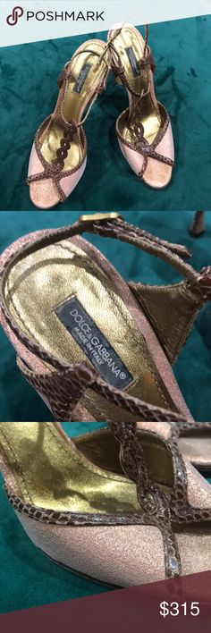 Dolce & Gabbana Sandles Metallic rose gold with a beautiful brown slash red skin ensemble.  They are so comfortable and perfect for dancing. Dolce & Gabbana Shoes Sandals