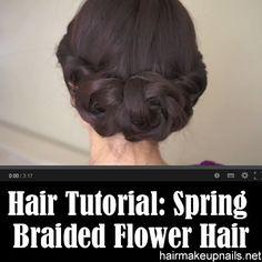 Spring Braided Flower Hair Tutorial ►► http://www.hairmakeupnails.net/spring-braided-flower-hair-tutorial/?i=p
