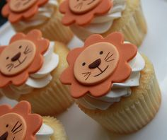 Adorable lion cupcakes by Best of Philly winner Whipped Bakeshop. Topped with vanilla buttercream and handmade smiling fondant lion faces. Lion Cupcakes, Jungle Cupcakes, Jungle Cake, Animal Cupcakes, Themed Cupcakes, Cute Cupcakes, Circus Cupcakes, Valentine Cupcakes, Lion Cookies