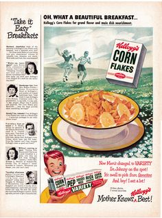 1949 Kelloggs Variety Boxes Corn Flakes Original * Magazine Ad This is an Original Large Format Magazine Ad Size is about * Inches To See More Vintage Breakfast Cereal Ads Click The Link Below- Retro Advertising, Retro Ads, Vintage Advertisements, Vintage Food, Vintage Recipes, Vintage Ads, Sugar Crisp, Ice Cream Candy, Corn Flakes