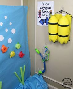 Under the Sea Theme - Planning Playtime Preschool Dramatic Play for an Ocean theme. DIY Diver Tank C Camping Dramatic Play, Dramatic Play Themes, Dramatic Play Area, Dramatic Play Centers, Preschool Dramatic Play, Ocean Activities, Summer Activities For Kids, Ocean Projects, Under The Sea Theme