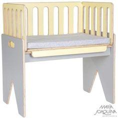 Mini Berço Cosleeper Pé Bandeira Amarelo Claro E Cinza Cobalto Entryway Bench, Dining Bench, Dog Nursery, Storage, Furniture, Design, Home Decor, Nurseries, Sim