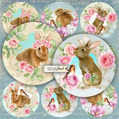 Old Friends  2.5 inch circles  set of 12  by bydigitalpaper
