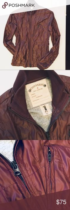 Burgundy Nylon Light Zip Jacket Cool nylon jacket lined in heathered grey tee shirt jersey. Two way zipper. Two outside zip pockets, to inside open pockets. Used a couple of times, its VERY CLEAN with no stains rips or damage od any kind. reg $100 Converse Jackets & Coats Lightweight & Shirt Jackets