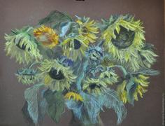Купить Картина пастелью Подсолнухи - желтый, картина в подарок, картина для интерьера, картина с цветами