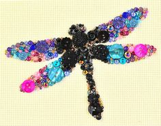 Button Art  Dragonfly  Vintage Button Art by PaintedWithButtons, $50.00