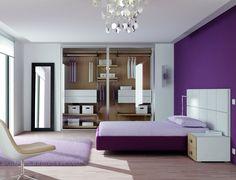 postel purpurová s bílým čelem / Violet bedroom with walk-in wardrobe Walk In Wardrobe, Entryway, Bedroom, Furniture, Design, Home Decor, Built In Wardrobe, Entrance, Decoration Home