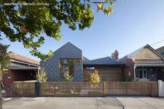 Fachada a la calle de la moderna casa australiana