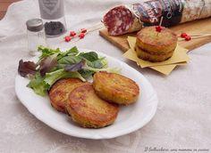 Rosti di patate e salame Osolemio Clai Frittata, Baked Potato, Baking, Ethnic Recipes, Oven, Vegetables, Bakken, Backen, Baked Potatoes
