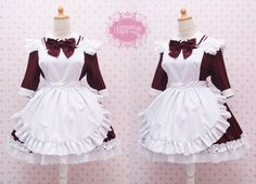 Custom in Your Size & Color Two Way Maroon Cotton Maid Dress And White Apron in Simple Victorian Style Dress - Kawaii Maid Costume by CoruscateUnique on Etsy