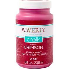 Waverly   Inspirations Matte Chalk Finish Acrylic Paint by Plaid, Crimson, 8 oz.