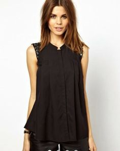 Black Plain Sequin Band Collar Cotton Blend Blouse
