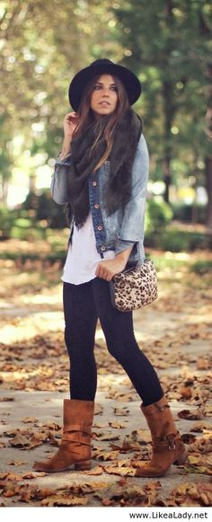 Autumn street style fashion with denim and skinny