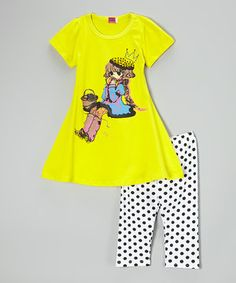 Love this Yellow Princess Tunic & Polka Dot Leggings - Toddler & Girls by Dolce Liya on #zulily! #zulilyfinds