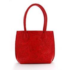 Red Tooled Leather Iowa Handbag - Ladies