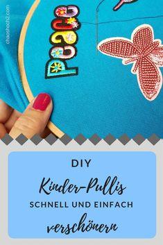 mit Wendepailletten und Aufnähern Pullover für Kinder ganz einfach und schnell verschönern #DIY #nähen #nähenfürkinder Baby Sewing, Sew Baby, Diy Hacks, Kind Mode, Diy For Kids, Kids Rugs, Pullover, Sewing For Kids, Recycled Sweaters