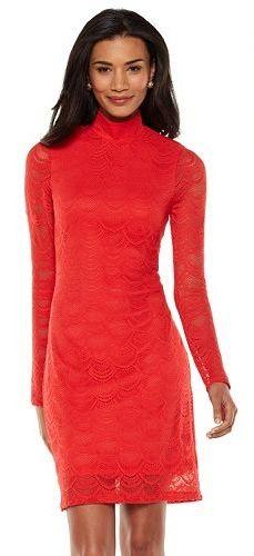 The perfect red for a Valentine's date. Jennifer Lopez Lace Sheath Dress - Women's #LoveKohls