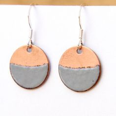 A personal favourite from my Etsy shop https://www.etsy.com/uk/listing/531897513/2-tone-earrings-copper-grey-round-enamel