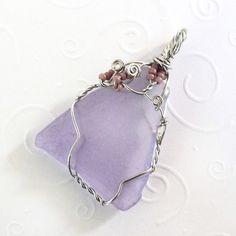 purple triangle and silver sea glass jewelry handmade OOAK