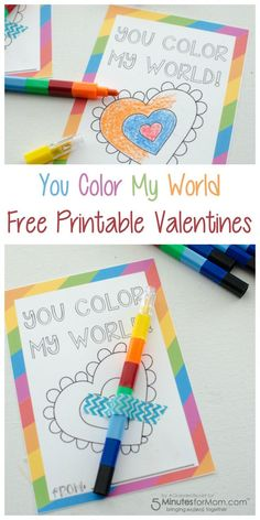 You Color My World Free Printable Valentines #ValentinesDay #Valentines
