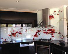 "Printed Glass Splashback for a residential Kitchen with a ""Cherry Blossom"" Design Modern Kitchen Cabinets, Glass Kitchen, Kitchen Backsplash, Diy Kitchen Storage, Home Decor Kitchen, Kitchen Interior, Printed Glass Splashbacks, Modern Apartment Decor, Kitchen Prints"