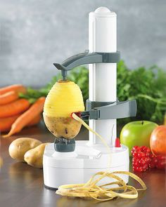 The Rotato Express is the amazing peeling machine that peels away potato, vegetables and fruit skins in seconds, in one fast easy motion!