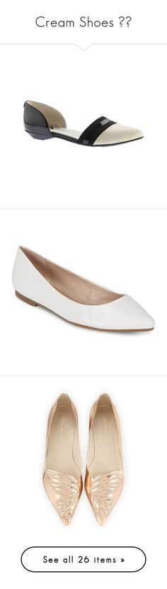 """Cream Shoes 👞🍦"" by izzystarsparkle ❤ liked on Polyvore featuring shoes, flats, dresses, slip on shoes, leather flats, leather pointed toe flats, d'orsay flats, leather pointy toe flats, white flats and white flat shoes"