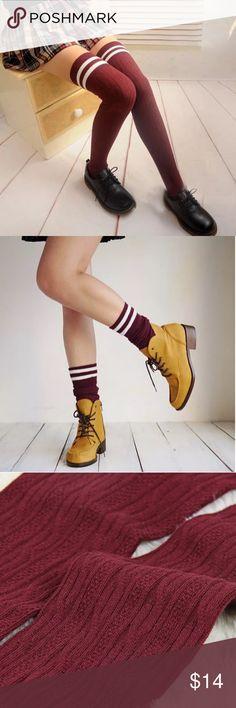 """Knitted Thigh High Socks Knitted Thigh High Socks. Burgundy color. 25"""" in length. Accessories Hosiery & Socks"""