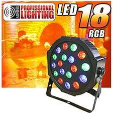 The LED-18-RGB from Adkins Professional Lighting offers superior color mixing abilities and brightness thanks to its 18x1-watt, high power RGB LEDs. The LED-18-RGB has the ability to run built-in programs and perform full RGB color mixing with or without DMX control. The LED-18-RGB is perfect for up-lighting, dance floor lighting, stage lighting, architectural work and installs as well.