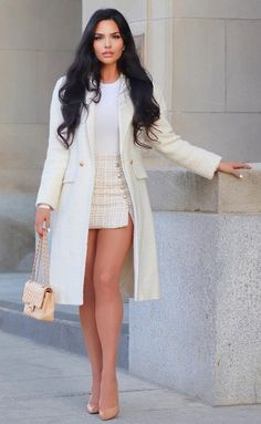 Glamouröse Outfits, Cute Casual Outfits, Fashion Outfits, White Fashion, Look Fashion, Fashion Models, Luxury Fashion, Classy Women, Sexy Women