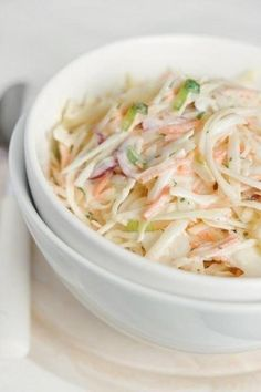 This coleslaw is the bomb! I doubled the dressing did a bag of coleslaw mix instead of cabbage and carrots and added a shredded apple. Best coleslaw I've ever had! Coslaw Recipes, Salad Recipes, Great Recipes, Cooking Recipes, Favorite Recipes, Healthy Recipes, Simple Recipes, Cooking Photos, Tasty