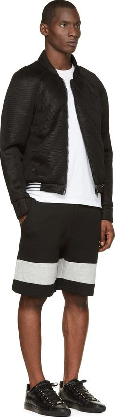 Black Lattice Mesh Quilted Bomber Jacket. Denis Gagnon. boutique.denisgagnon.ca