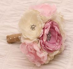 This way you can keep your bouquet forever!! Custom Order Ivory and pinks  Fabric Wedding by RenesFabLab, $150.00